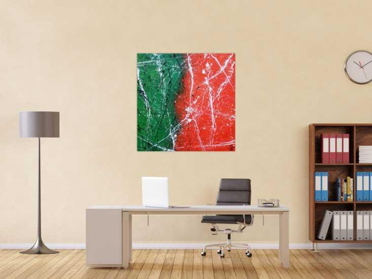 #1241 Abstraktes Acrylbild orange grün schwarz weiß sehr modern ... 100x100cm von Alex Zerr