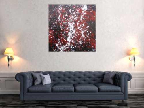 Abstraktes Acrylbild Action Painting schwarz rot weiß modern