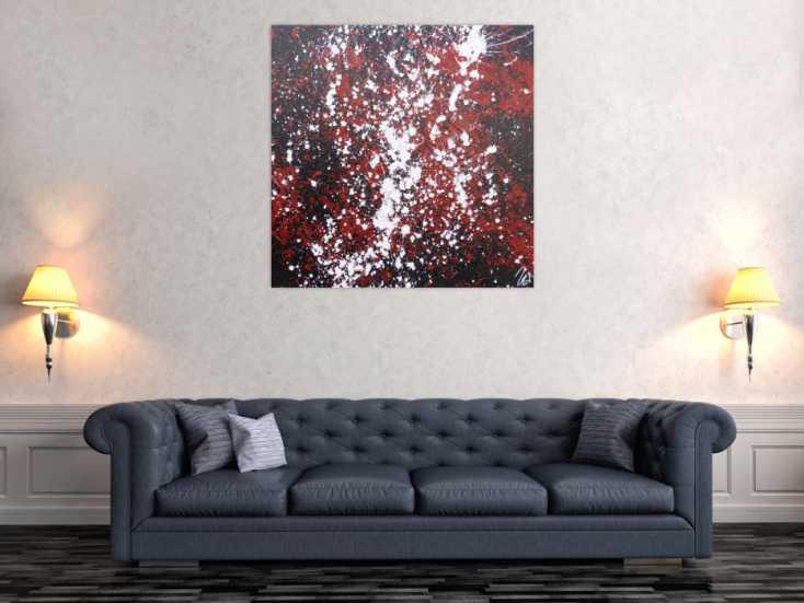 #1242 Abstraktes Acrylbild Action Painting schwarz rot weiß modern 100x100cm von Alex Zerr