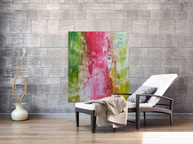 #1243 Abstraktes Acrylbild Spachteltechnik bunt helle Farben modern ... 120x100cm von Alex Zerr