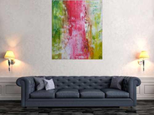 Abstraktes Acrylbild Spachteltechnik bunt helle Farben modern zeitgenössisch
