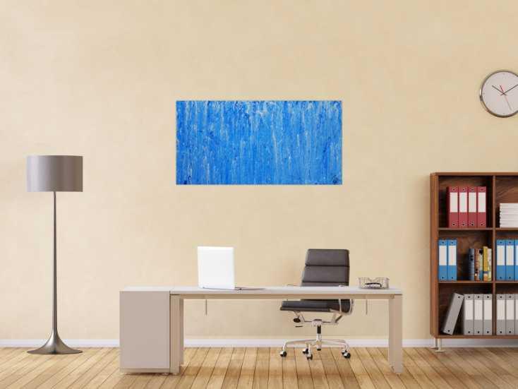 #1244 Abstraktes Acrylbild Mischtechnik hellblau weiß blau modern ... 60x120cm von Alex Zerr