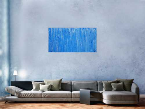 Abstraktes Acrylbild Mischtechnik hellblau weiß blau modern zeitgenössisch