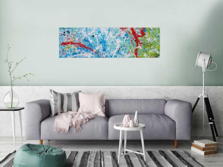 #1245 Abstraktes Acrylbild Action Painting sehr modern weiß blau rot grün ... 40x140cm von Alex Zerr