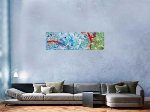 Abstraktes Acrylbild Action Painting sehr modern weiß blau rot grün gelb schwarz