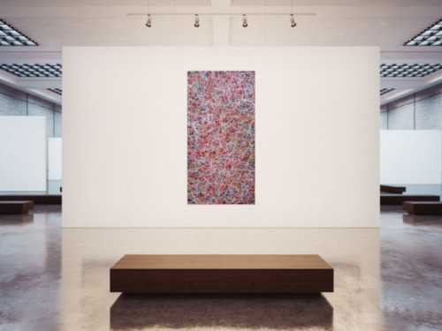 Abstraktes Acrylbild Mischtechnik bunt viele Farben feine bunte Streifen auf schwarzem Hintergrund