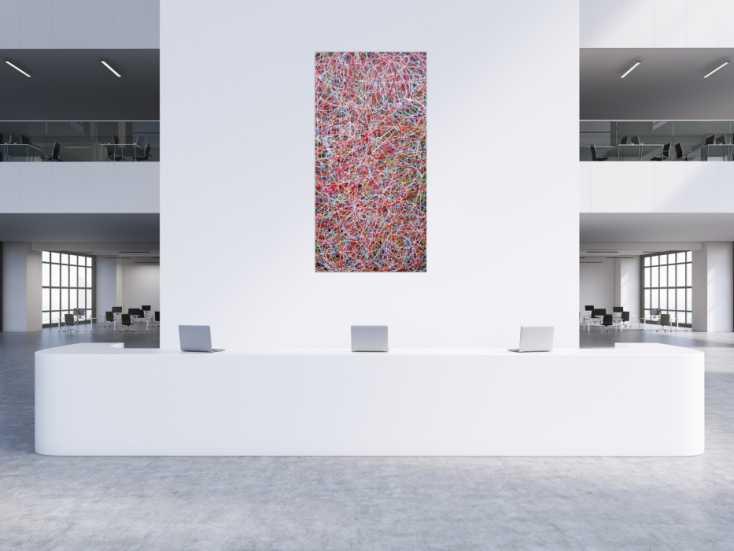 #1246 Abstraktes Acrylbild Mischtechnik bunt viele Farben feine bunte ... 200x100cm von Alex Zerr