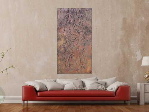 Abstraktes Bild aus echtem Rost Rostbild und starker Struktur sehr modern zeitgenössisch Hochformat