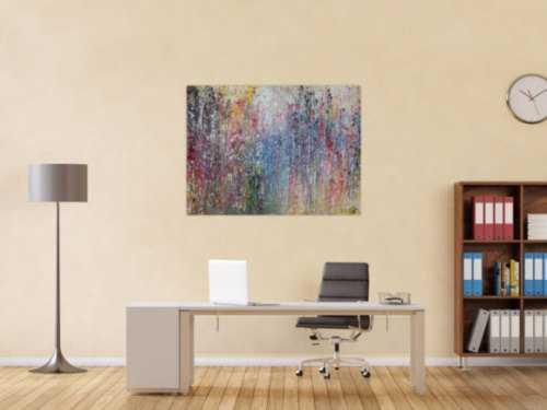 Abstraktes Acrylbild sehr bunt modern viele Farben Mischtechnik zeitgenössisch