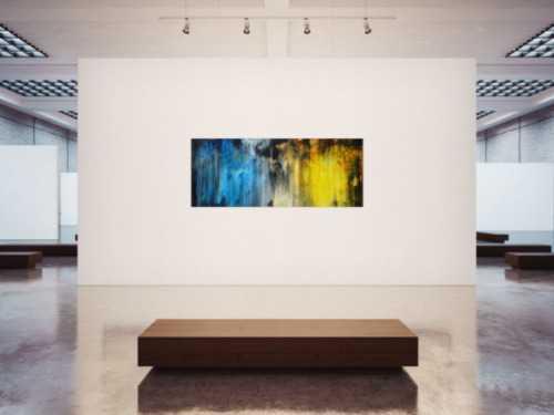 Abstraktes Acrylbild Modern Art blau gelb schwarz weiß Mischtechnik zeitgenössisch