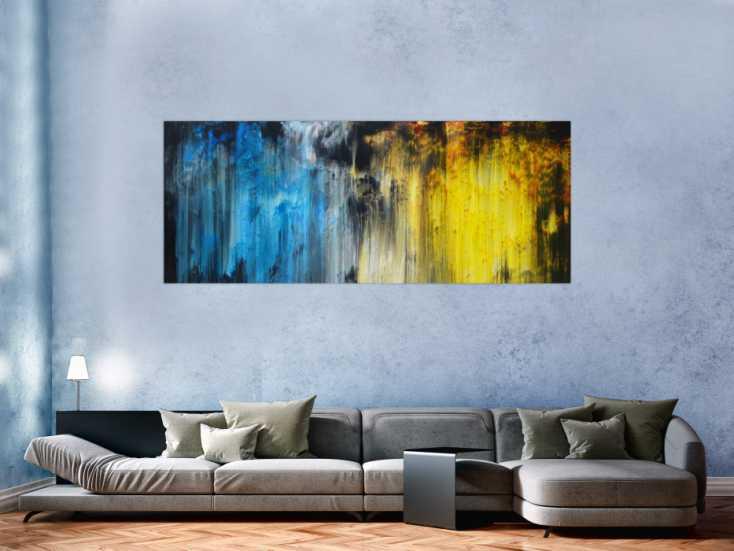 #1249 Abstraktes Acrylbild Modern Art blau gelb schwarz weiß Mischtechnik ... 80x200cm von Alex Zerr