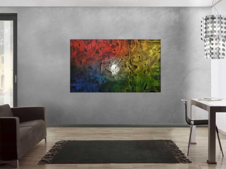 buntes gem lde abstrakt aus acryl auf leinwand 100x170cm. Black Bedroom Furniture Sets. Home Design Ideas