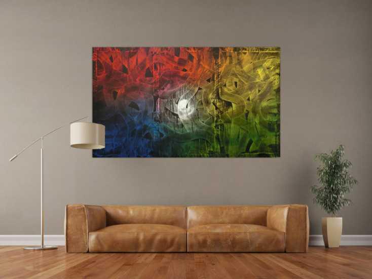 #125 Buntes Gemälde abstrakt aus Acryl 100x170cm von Alex Zerr