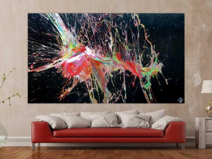 #1250 Abstraktes Acrylbild sehr bunt auf schwarz Action Painting Modern Art ... 140x250cm von Alex Zerr