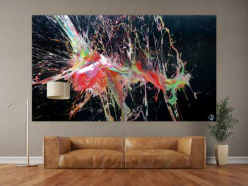 Abstraktes Acrylbild sehr bunt auf schwarz Action Painting Modern Art Splash Art zeitgenössisch