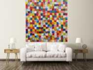 Abstraktes Acrylbild bunte Flächen sehr groß Karomuster viele Farben modern zeitgenössisch