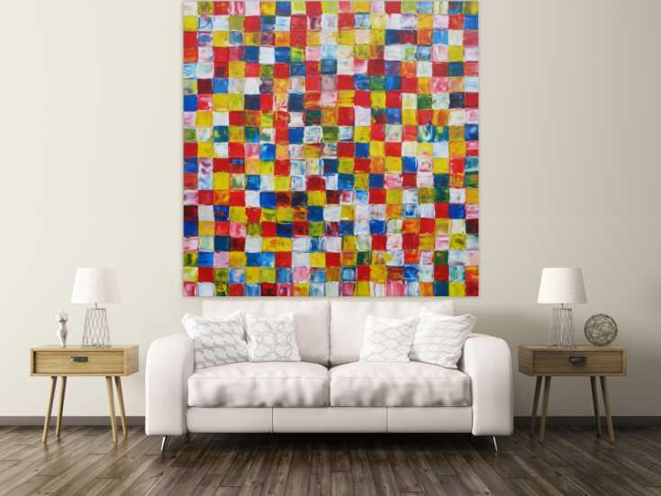 #1251 Abstraktes Acrylbild bunte Flächen sehr groß Karomuster viele ... 180x180cm von Alex Zerr