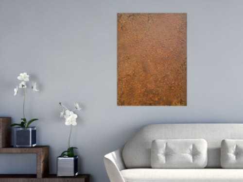 Abstraktes Bild aus echtem Rost Rostbild sehr modern braun orange Erdfarben