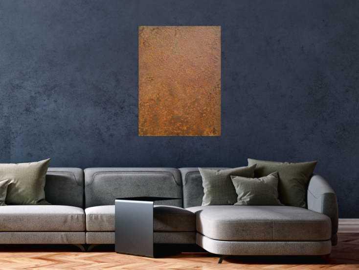 #1252 Abstraktes Bild aus echtem Rost Rostbild sehr modern braun orange ... 80x60cm von Alex Zerr