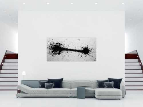 Abstraktes Acrylbild schwarz weiß modern schlicht Action Painting Splash Art minimalistisch