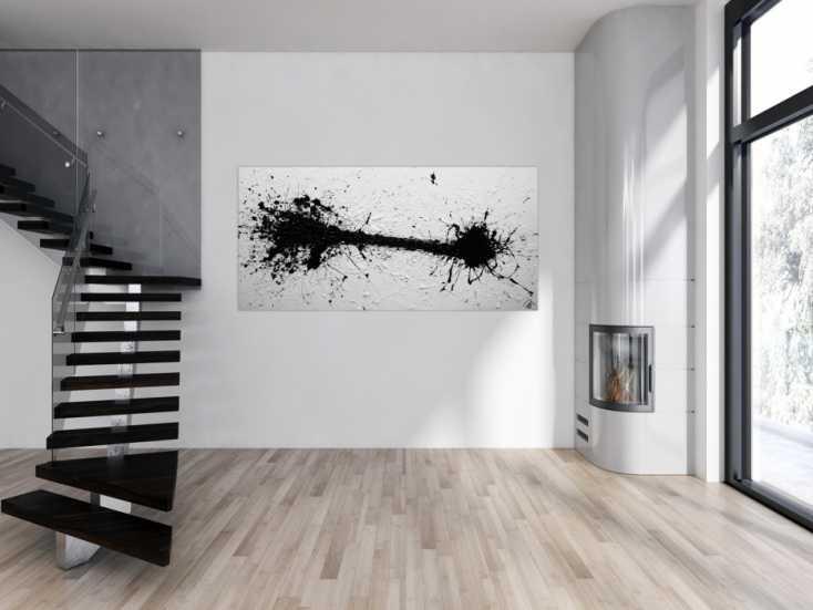 #1253 Abstraktes Acrylbild schwarz weiß modern schlicht Action Painting ... 100x200cm von Alex Zerr