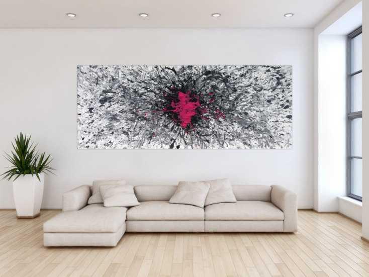 #1254 Abstraktes Acrylbild Mischtechnik Action Painting Splash Art grau ... 100x250cm von Alex Zerr