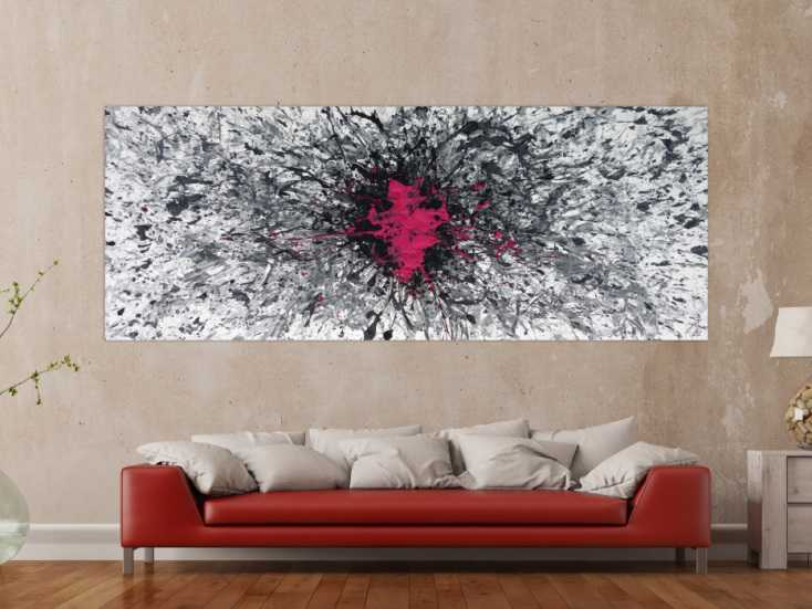 #1254 Abstraktes Acrylbild Mischtechnik Action Painting Splash Art grau ... 100x250cm von Alex Zerr