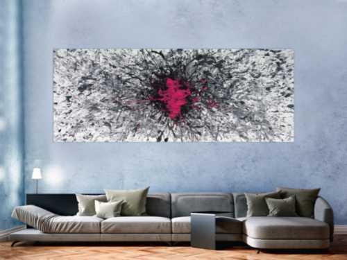 Abstraktes Acrylbild Mischtechnik Action Painting Splash Art grau weiß scharz pink Modern Art