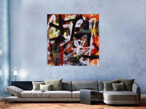 Abstraktes Acrylbild Mischtechnik Action Painting orange schwarz weiß rot Modern Art zeitgenössisch