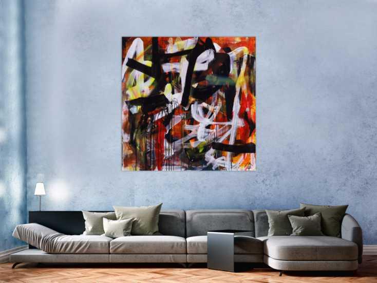 #1255 Abstraktes Acrylbild Mischtechnik Action Painting orange schwarz ... 130x130cm von Alex Zerr