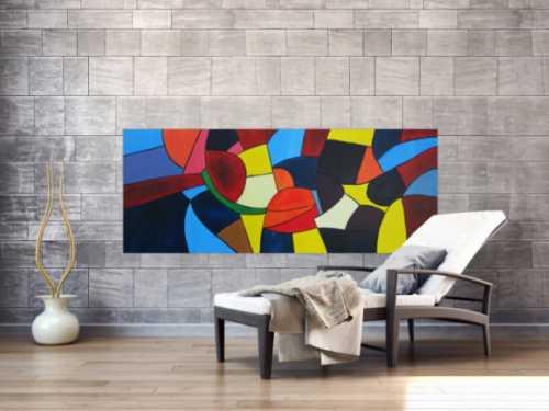 Abstraktes Acrylbild bunte Flächen sehr farbig modern zeitgenössisch