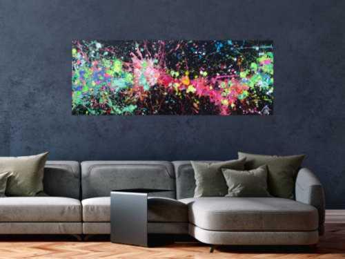 Acryl Gemälde abstrakt leuchtende Neon Farben auf schwarzem Hintergrund handgemalt