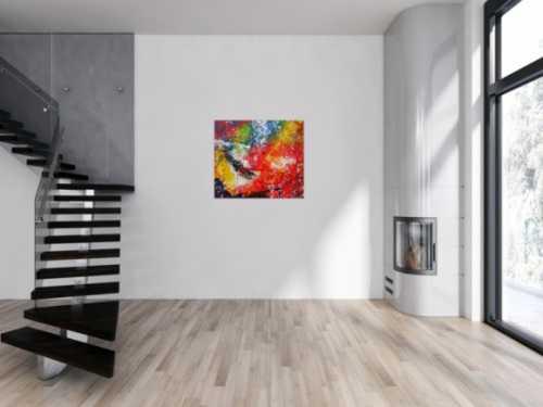 Modernes Gemälde abstraktes Acrylbild sehr bunt Action Painting handgemalt