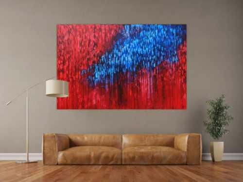Acryl Bild abstrakt modern in rot blau zeitgenössisch handgemalt
