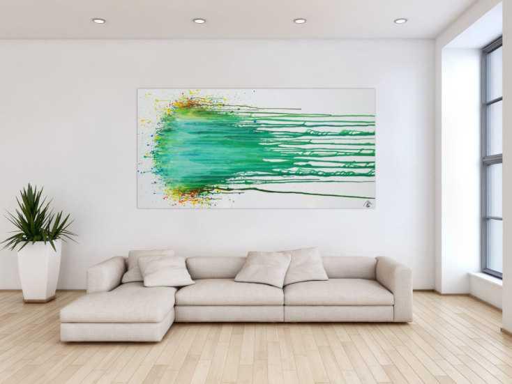 #1260 Abstraktes Acrylbild modern in Fließtechnik zeitgenössisch helle ... 100x200cm von Alex Zerr