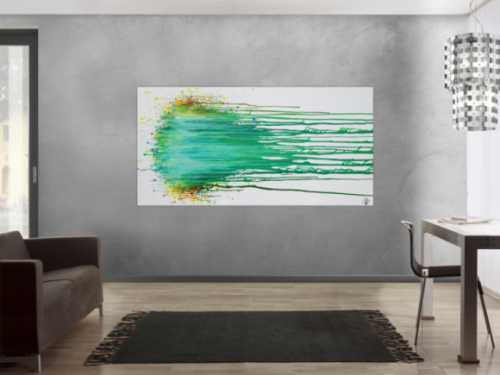 Abstraktes Acrylbild modern in Fließtechnik zeitgenössisch helle Farben