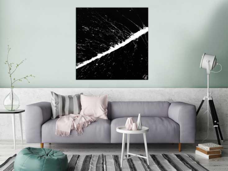 #1261 Modernes Acrylbild abstrakt schwarz weiß Action Painting ... 100x100cm von Alex Zerr