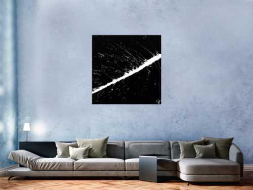 Modernes Acrylbild abstrakt schwarz weiß Action Painting expressionistisch