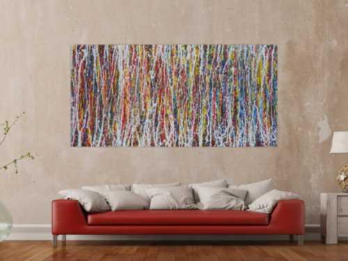 Abstraktes Bild bunt modernes Gemälde Action Painting zeitgenössisch Informel expressionistisch