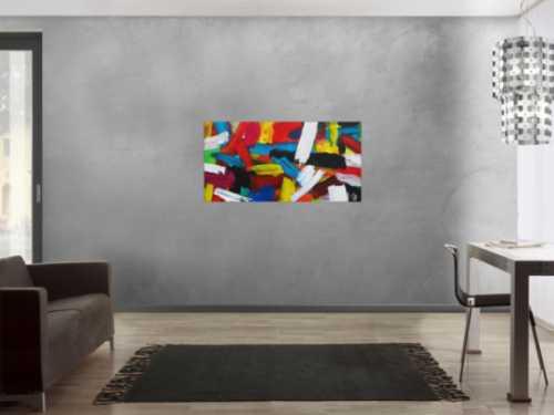Abstraktes Acrylbild sehr bunt modern zeitgenössisch expressionistisch