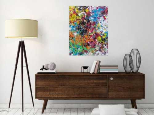 Modernes Acrylbild abstrakt sehr bunt zeitgenössisch Action Painting