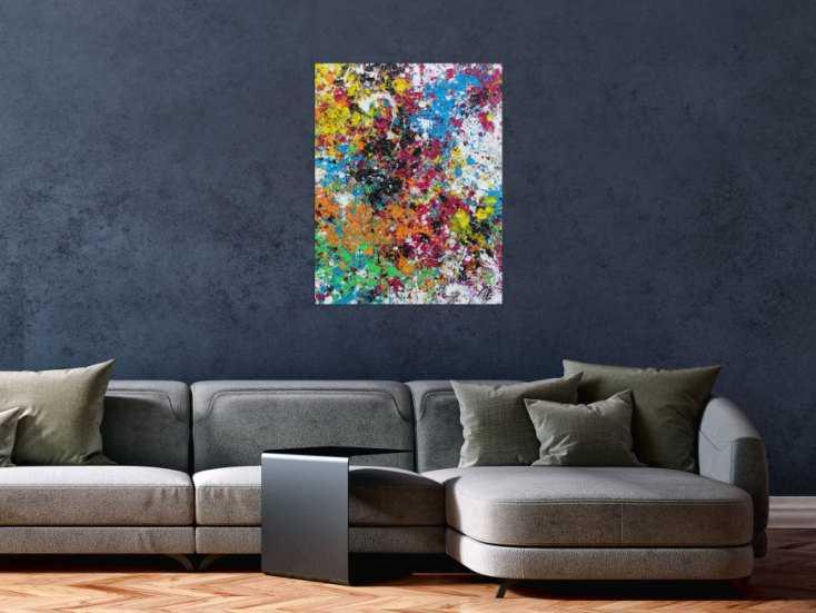 #1264 Modernes Acrylbild abstrakt sehr bunt zeitgenössisch Action Painting 80x60cm von Alex Zerr