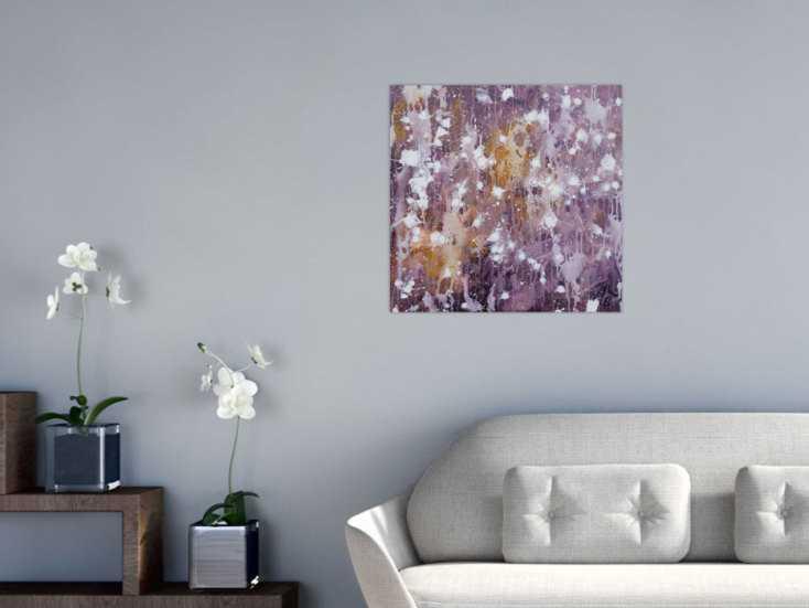 #1265 Abstraktes Acrylbild modern zeitgenössisch violett lila weiß 60x60cm von Alex Zerr