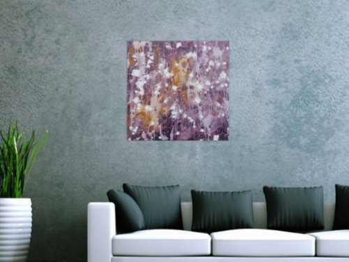 Abstraktes Acrylbild modern zeitgenössisch violett lila weiß