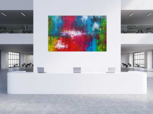 Abstraktes Acrylbild sehr bunt Spachteltechnik zeitgenössisch expressionistisch