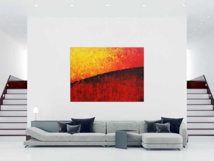 #1268 Abstraktes Gemälde orange rot gelb schwarz zeitgenössisch modern 150x200cm von Alex Zerr