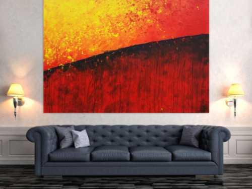 Abstraktes Gemälde orange rot gelb schwarz zeitgenössisch modern