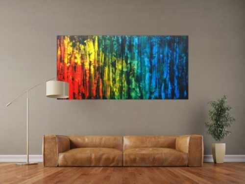 Abstraktes Acrylbild bunt mit schwarz modern zeitgenössisch expressionistisch