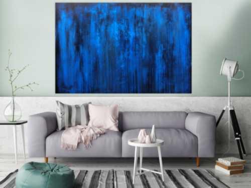 Abstraktes Acrylbild blau schlicht & modern