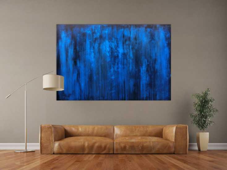 #127 Abstraktes Acrylbild blau schlicht & modern 100x170cm von Alex Zerr